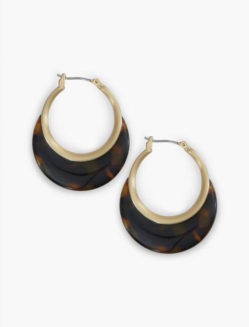 Brown Acetate Small Hoops, GOLD