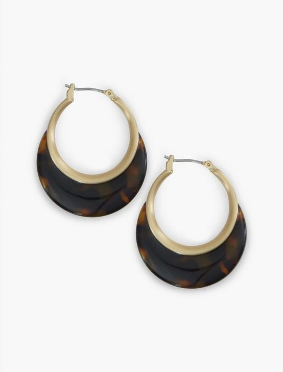Brown Acetate Small Hoops, GOLD, productTileDesktop