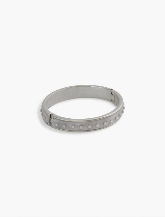 Acetate Rivet Cuff Bracelet, SILVER, productTileDesktop