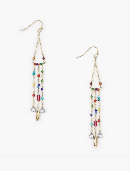 DELICATE BEADED EARRINGS, GOLD, productTileDesktop