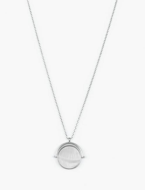 SPINNER PENDANT NECKLACE, SILVER