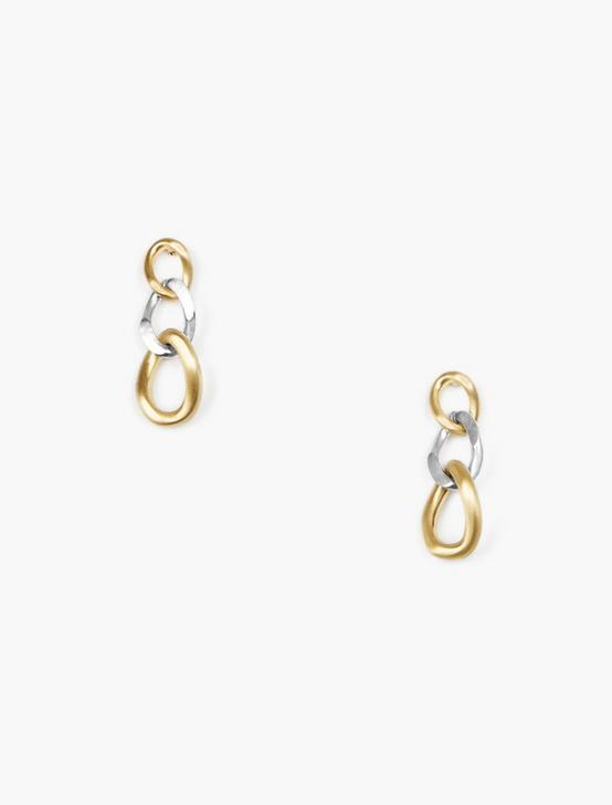 CHUNKY CHAIN LINK EARRING, TWO TONE, productTileDesktop