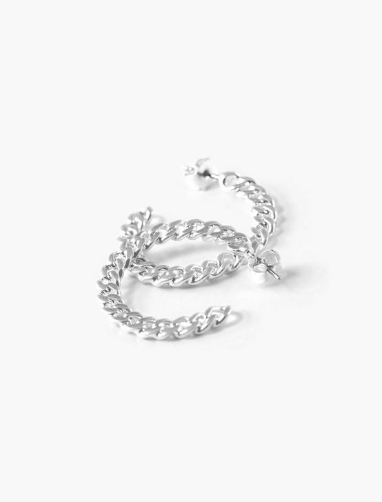 CHAIN HOOP EARRINGS, SILVER, productTileDesktop