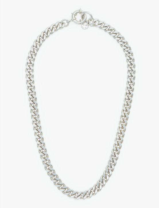 HEAVY CHAIN NECKLACE, SILVER, productTileDesktop
