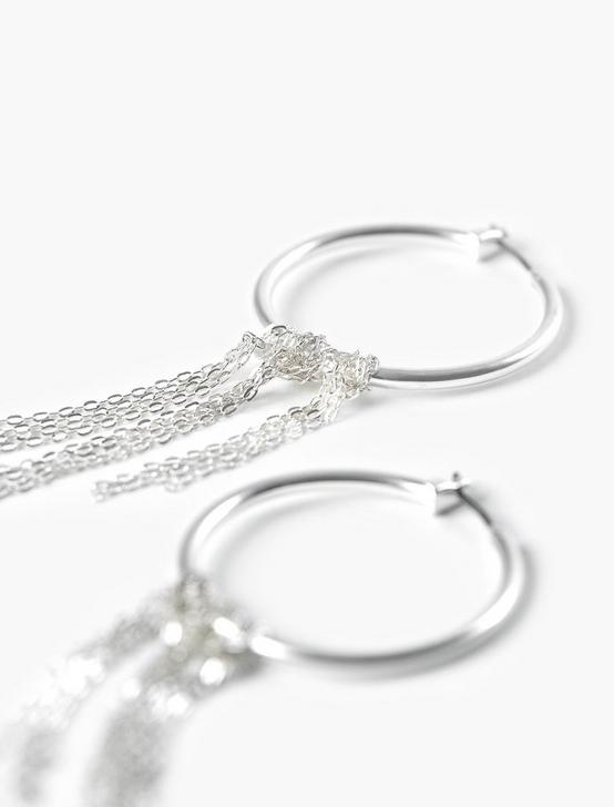 CHAIN DROP HOOPS, SILVER, productTileDesktop