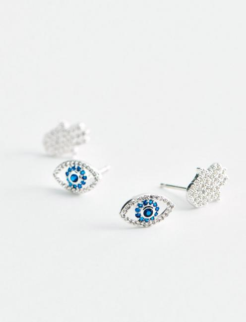 EVIL EYE AND HAMSA DELICATE EARRING SET, SILVER