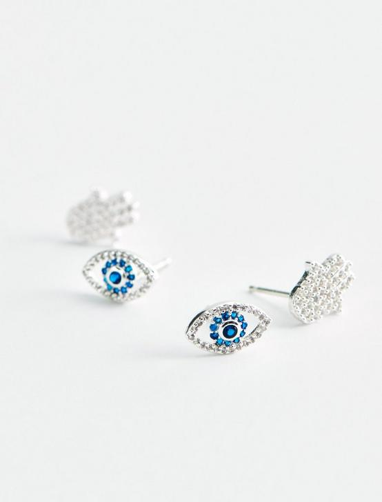 EVIL EYE AND HAMSA DELICATE EARRING SET, SILVER, productTileDesktop