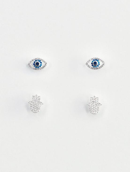 DELICATE EARRING SET, SILVER, productTileDesktop