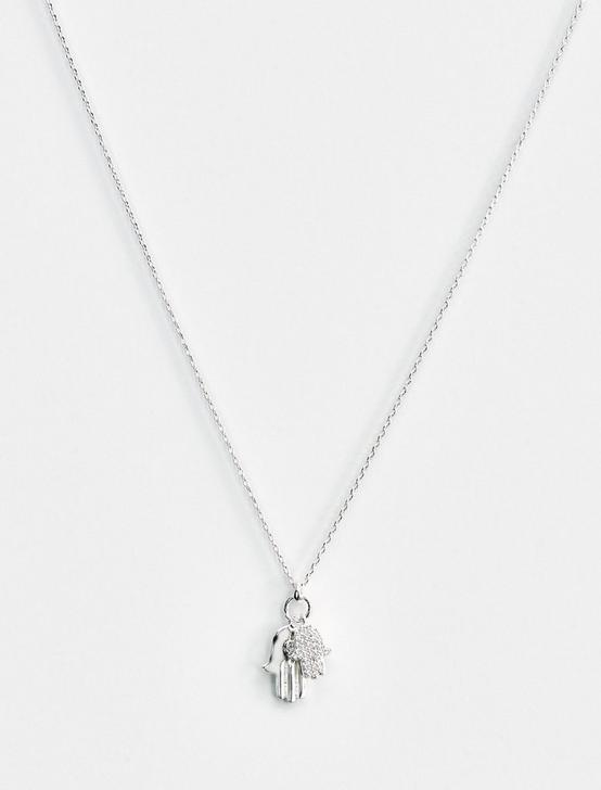 HAMSA DELICATE NECKLACE, SILVER, productTileDesktop