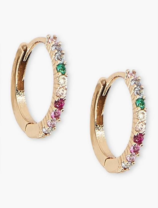 PAVE HOOP EARRINGS, GOLD, productTileDesktop