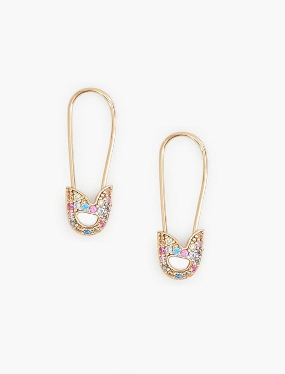 RAINBOW PAVE SAFETY PIN EARRING, GOLD, productTileDesktop