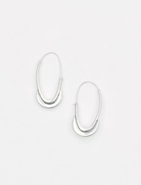 SILVER CRESCENT HOOPS, SILVER