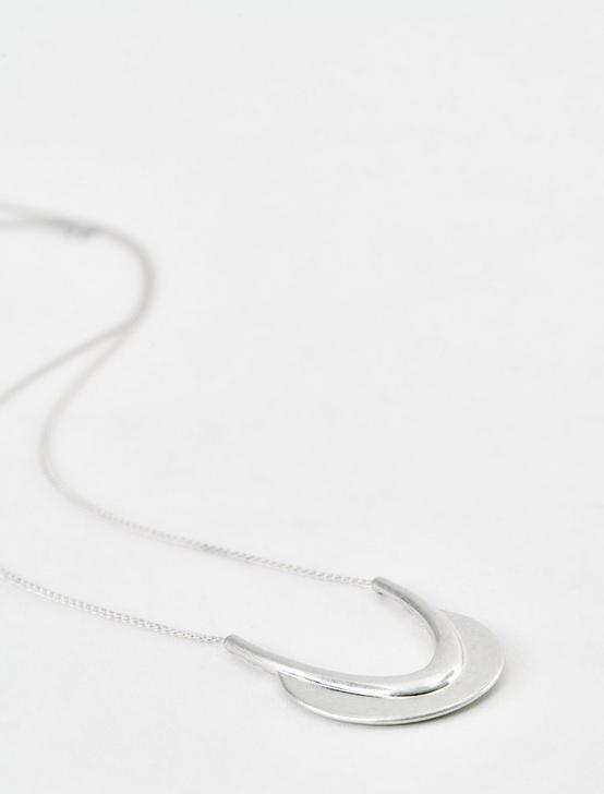 SILVER CRESCENT NECKLACE, SILVER, productTileDesktop