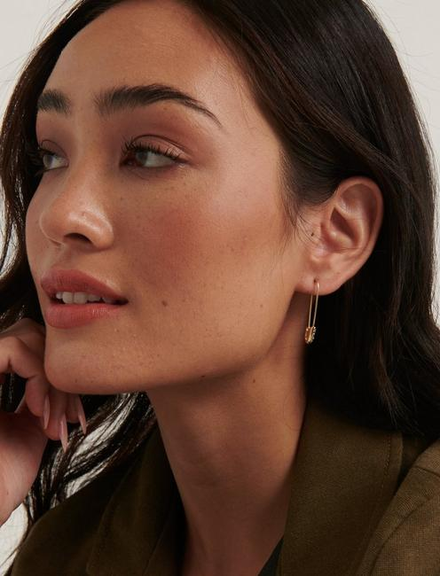 PAVE SAFETY PIN EARRINGS, GOLD