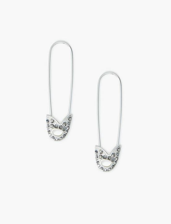PAVE SAFETY PIN EARRINGS, SILVER, productTileDesktop