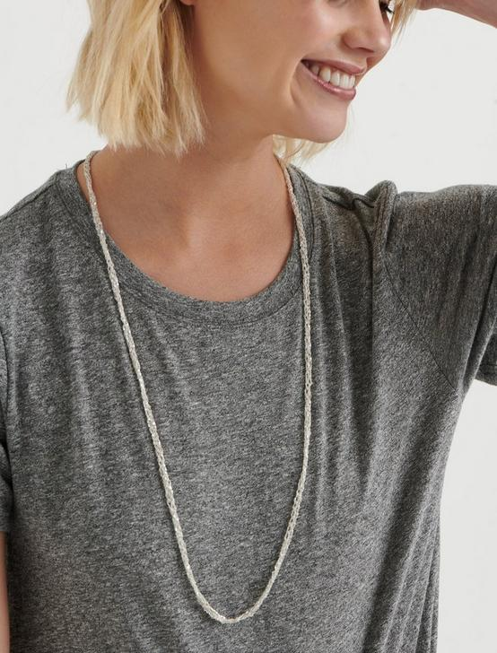 WOVEN CHAIN NECKLACE, SILVER, productTileDesktop