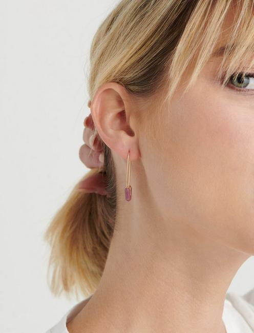 PINK ENAMEL SAFETY PIN EARRINGS, GOLD
