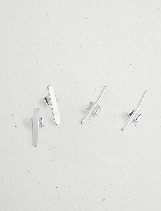 MINIMAL EARRINGS STUD SET, SILVER, productTileDesktop