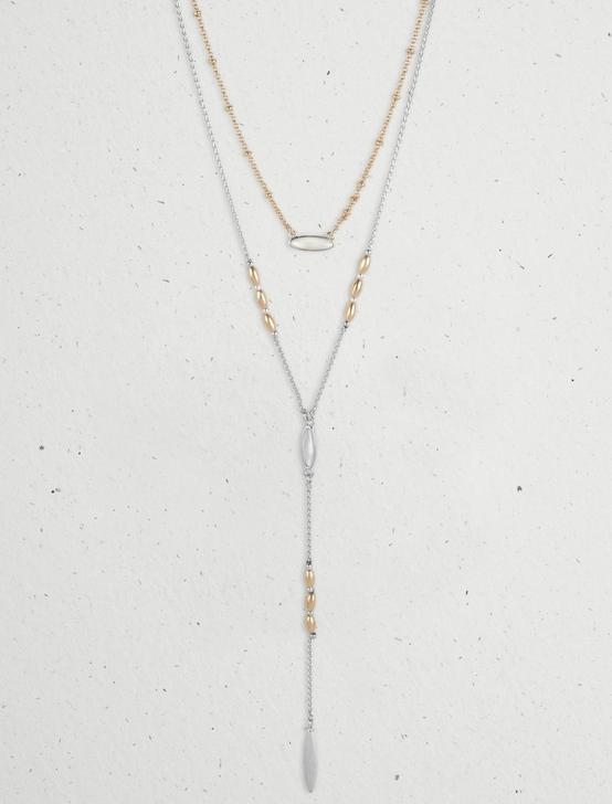 LAYERED Y NECKLACE, TWO TONE, productTileDesktop