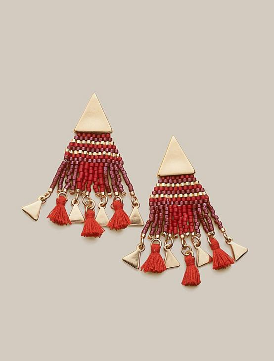 BEADED FRINGE STATEMENT EARRING, GOLD, productTileDesktop