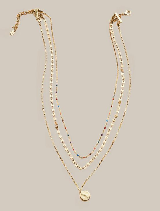 CONFETTI LAYER CHARM NECKLACE, GOLD, productTileDesktop