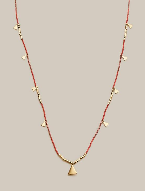 BEADED CHARM NECKLACE, GOLD, productTileDesktop