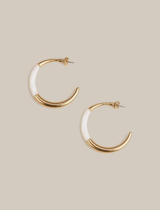 INLAY HOOP EARRINGS, GOLD, productTileDesktop