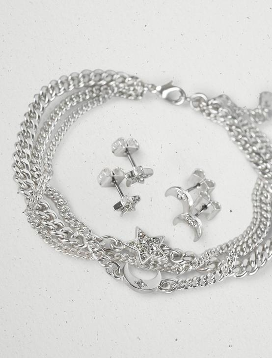 MOON AND STARS BRACELET SET, SILVER, productTileDesktop
