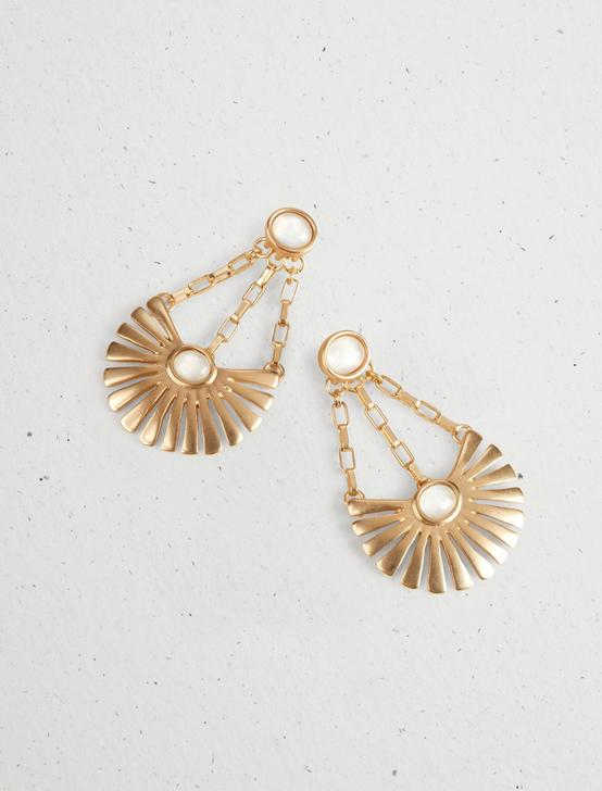 BEADED SUNBURST EARRINGS, GOLD, productTileDesktop