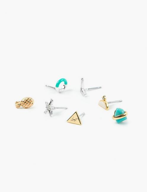 PINEAPPLE STUD SET, TWO TONE