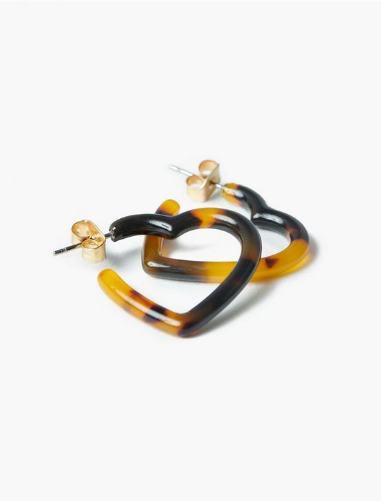 TORTOISE HEART HOOP EARRINGS, GOLD, productTileDesktop