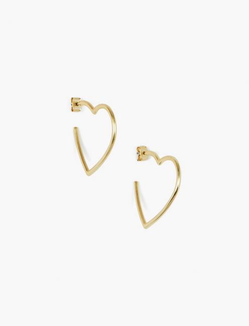 HEART HOOPS EARRINGS, GOLD