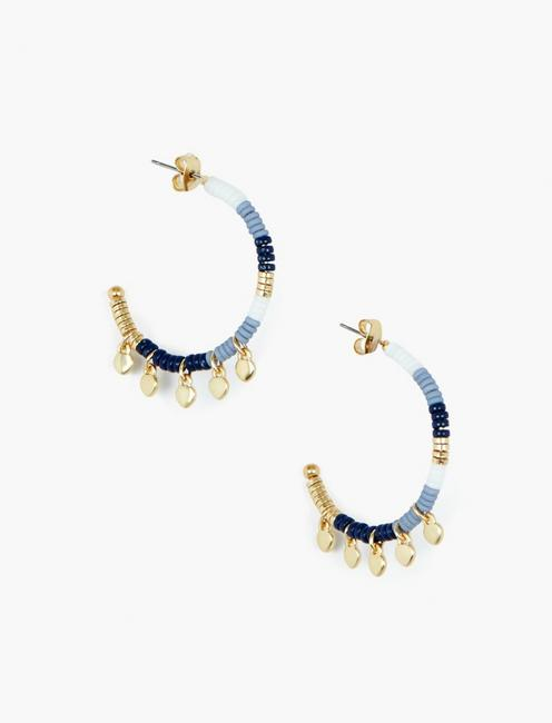 BLUE AND GOLD BEADED EARRINGS, GOLD