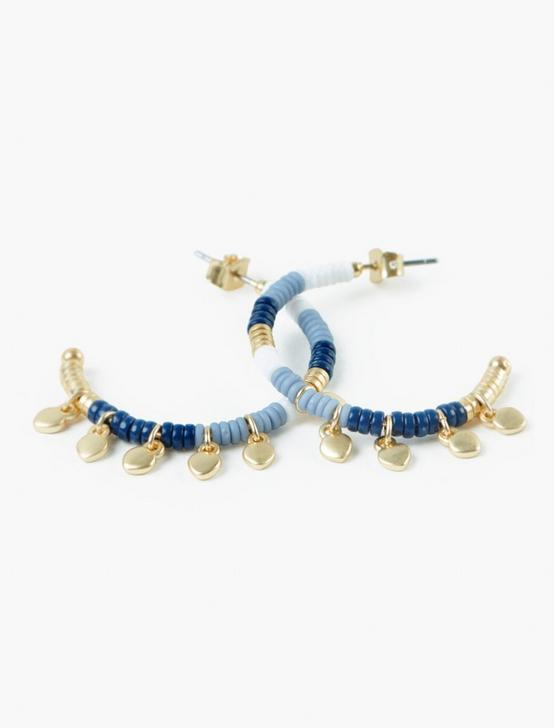 BLUE AND GOLD BEADED EARRINGS, GOLD, productTileDesktop