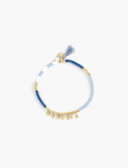BLUE AND GOLD BEADED BRACELET, GOLD