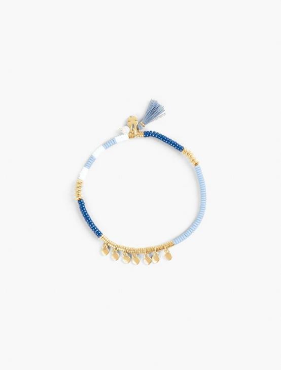 BLUE AND GOLD BEADED BRACELET, GOLD, productTileDesktop