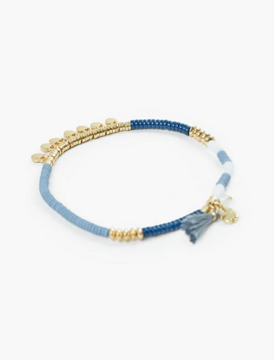 BLUE AND GOLD BEADED BRACELET, GOLD, productTileDesktop