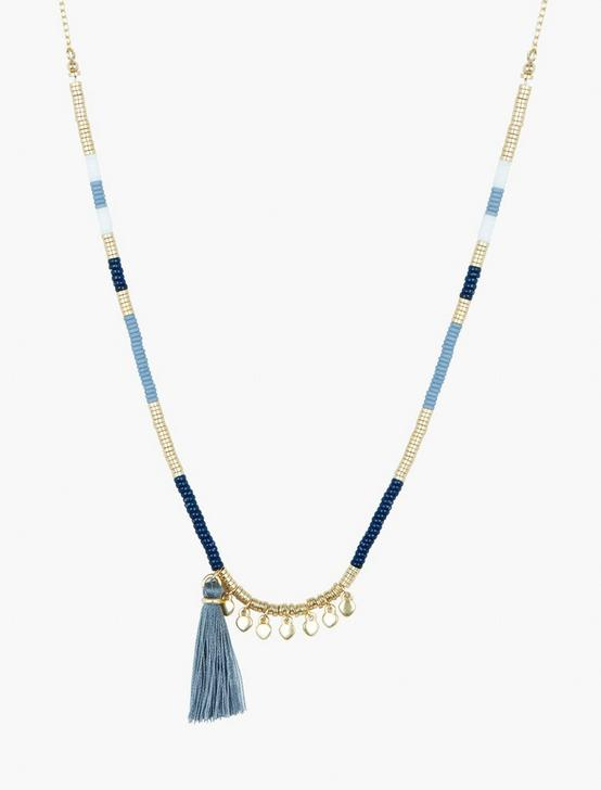 BLUE AND GOLD BEADED NECKLACE, GOLD, productTileDesktop