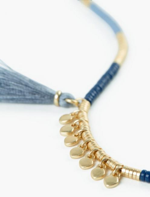 BLUE AND GOLD BEADED NECKLACE, GOLD