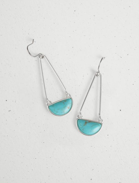 TURQUOISE SET STONE DROP EARRINGS, SILVER, productTileDesktop
