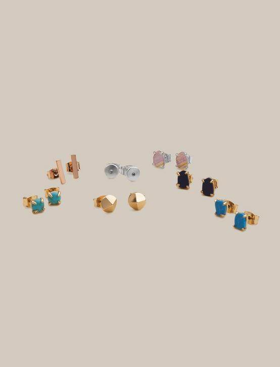 COLORFUL STONES STUD SET, TWO TONE, productTileDesktop