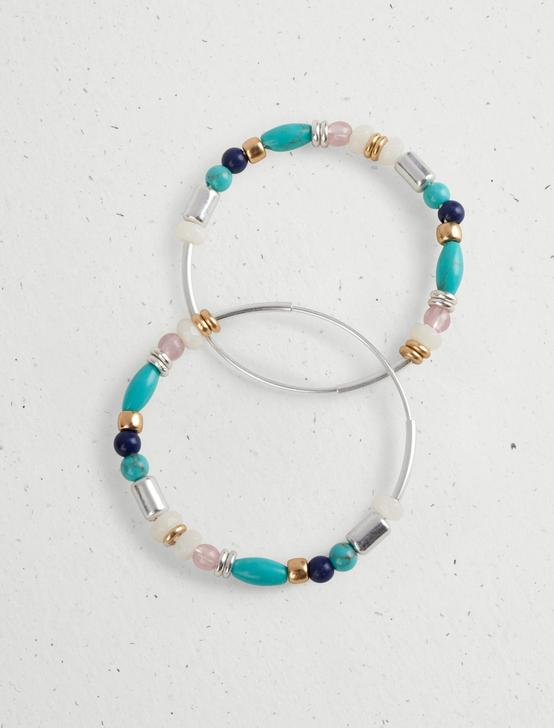 BEADED HOOP EARRING, TWO TONE, productTileDesktop