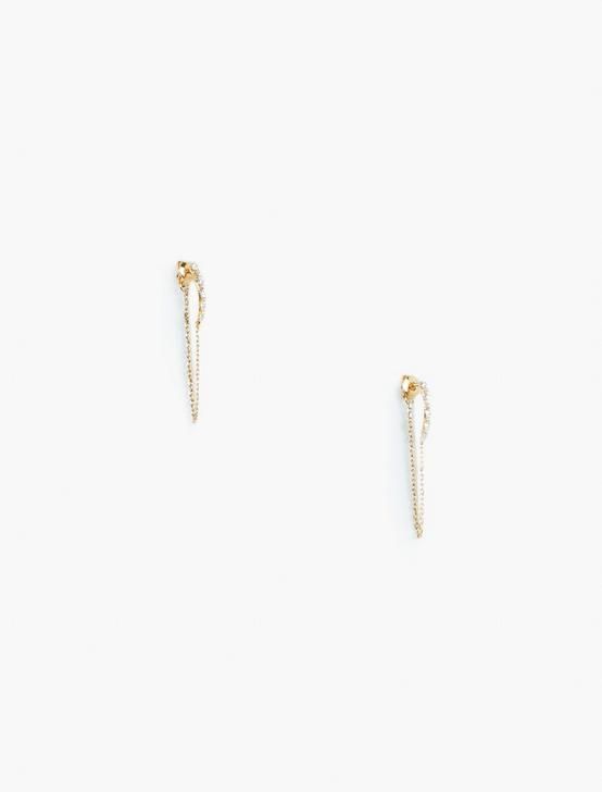 PAVE CHAIN STUD SET, GOLD, productTileDesktop
