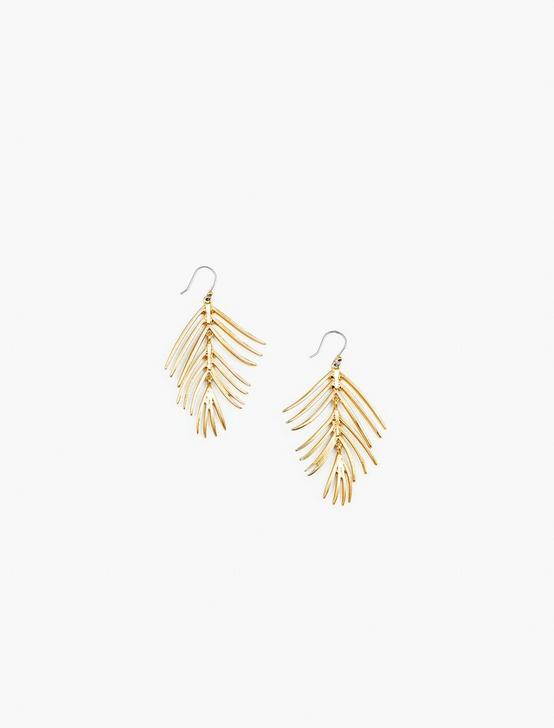 PALM LEAF DROP EARRINGS, GOLD, productTileDesktop