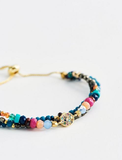 Rainbow Bead Layer Bracelet, TWO TONE