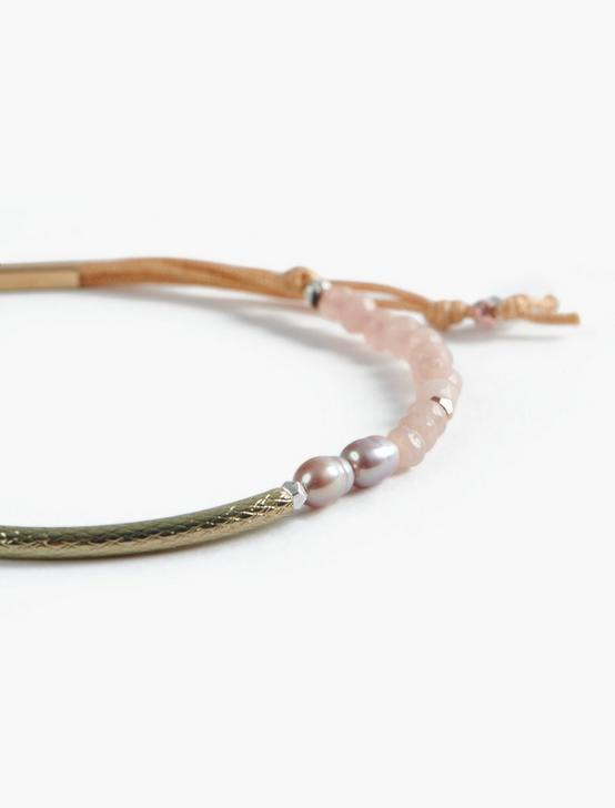PINK BEADED BRACELET, TWO TONE, productTileDesktop