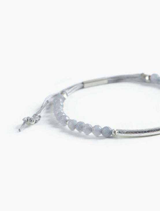 GREY BEADED BRACELET, TWO TONE, productTileDesktop
