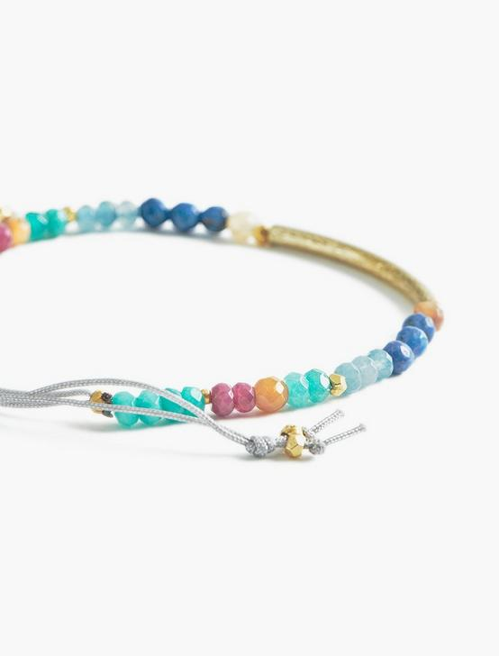 RAINBOW BEADED BRACELET, TWO TONE, productTileDesktop