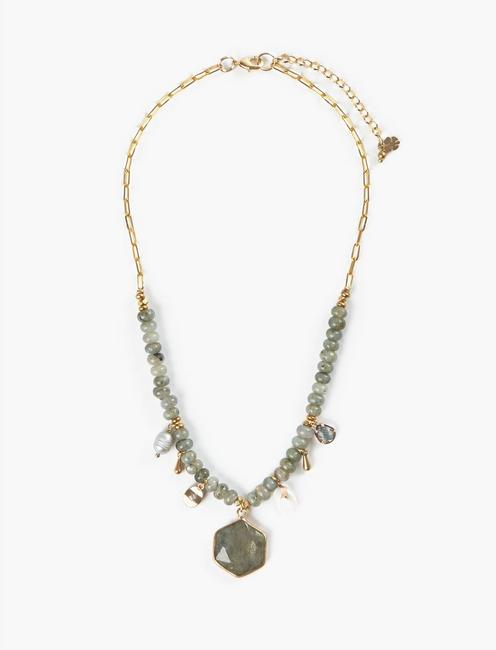 CHARMED PENDANT COLLAR NECKLACE, TWO TONE