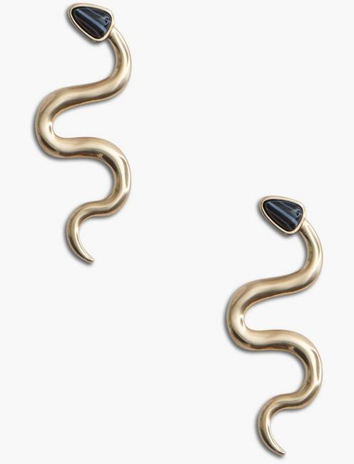 BLACK AGATE SNAKE EARRING,